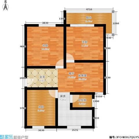 东园3室0厅1卫0厨80.00㎡户型图
