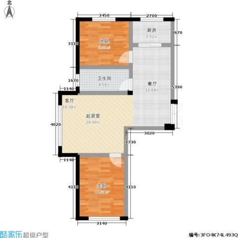 枫桥河畔二期2室0厅1卫1厨83.00㎡户型图