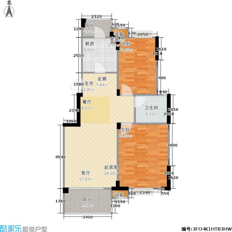 中国铁建山语城C1户型2室2厅