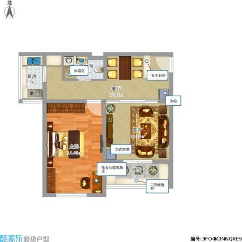 卧龙北里1室2厅1卫1厨66.00㎡户型图