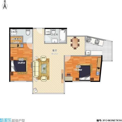 天通苑西三区2室1厅2卫1厨114.00㎡户型图