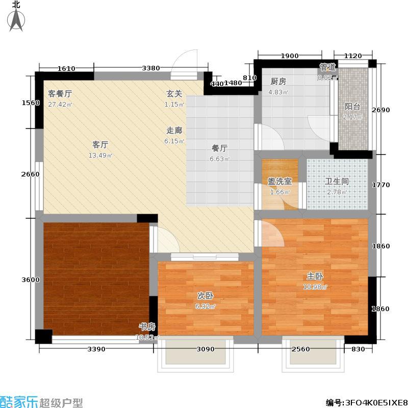 莱茵北郡80.00㎡二期26号楼标准层F3户型