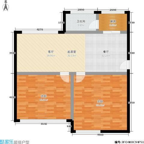 新安铭苑2室0厅1卫1厨90.00㎡户型图