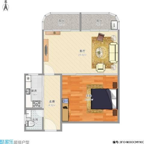 中山颐景花园1室1厅1卫1厨56.00㎡户型图
