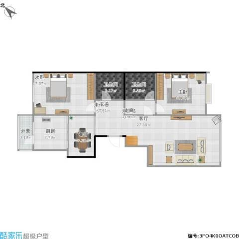 太阳大厦2室1厅2卫1厨107.41㎡户型图