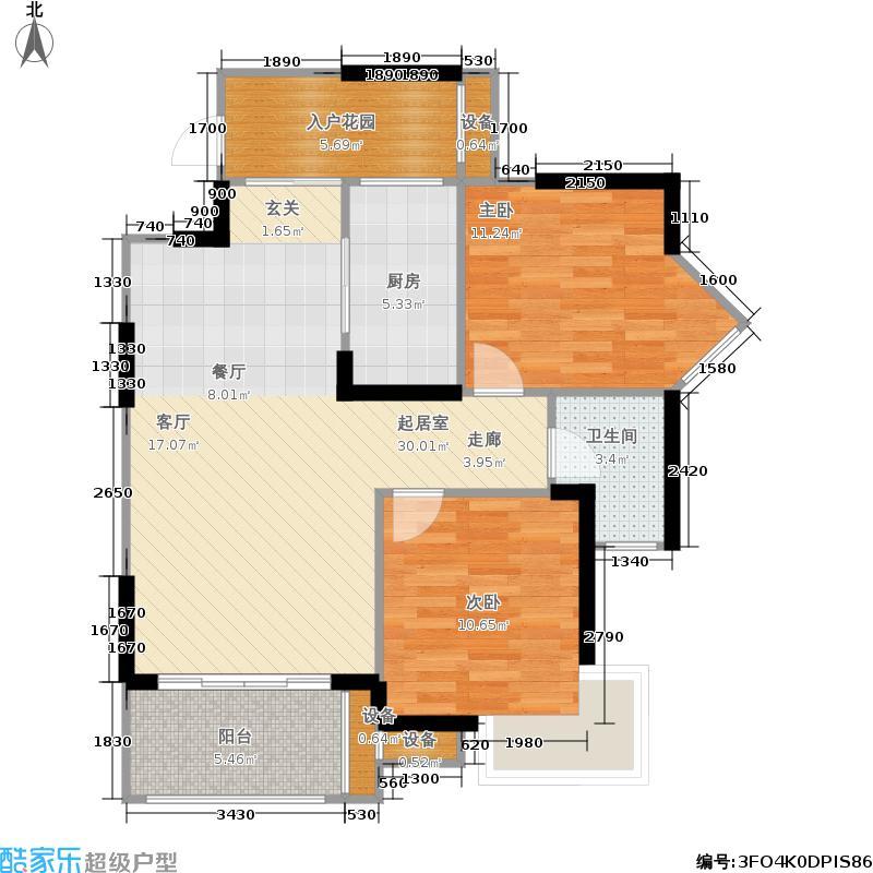 新碧园82.68㎡一期3、6号楼标准层A3户型