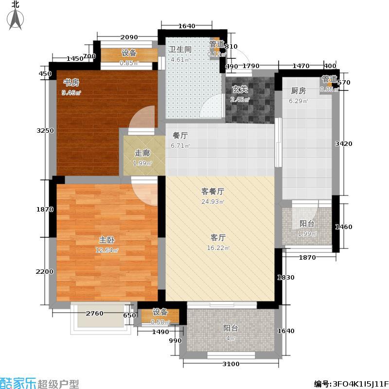 鑫苑湖居世家77.00㎡G6户型2室2厅