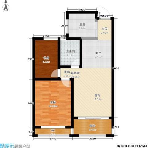 建滔裕景园2室0厅1卫1厨82.00㎡户型图