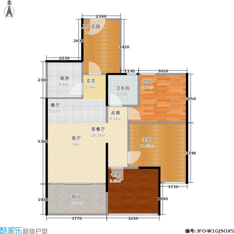 南宁宝能城市广场80.00㎡2-4、7、8、13-16#楼A1户型