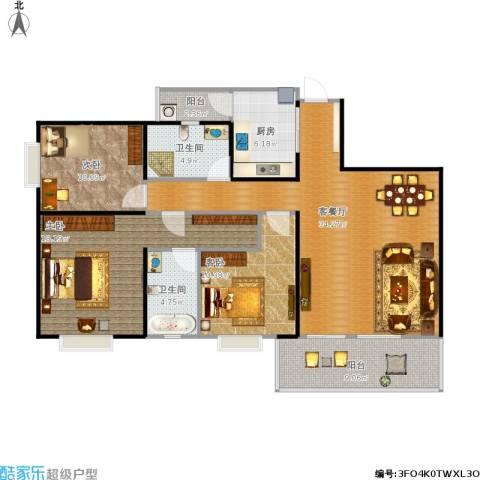 领峰3室1厅2卫1厨135.00㎡户型图