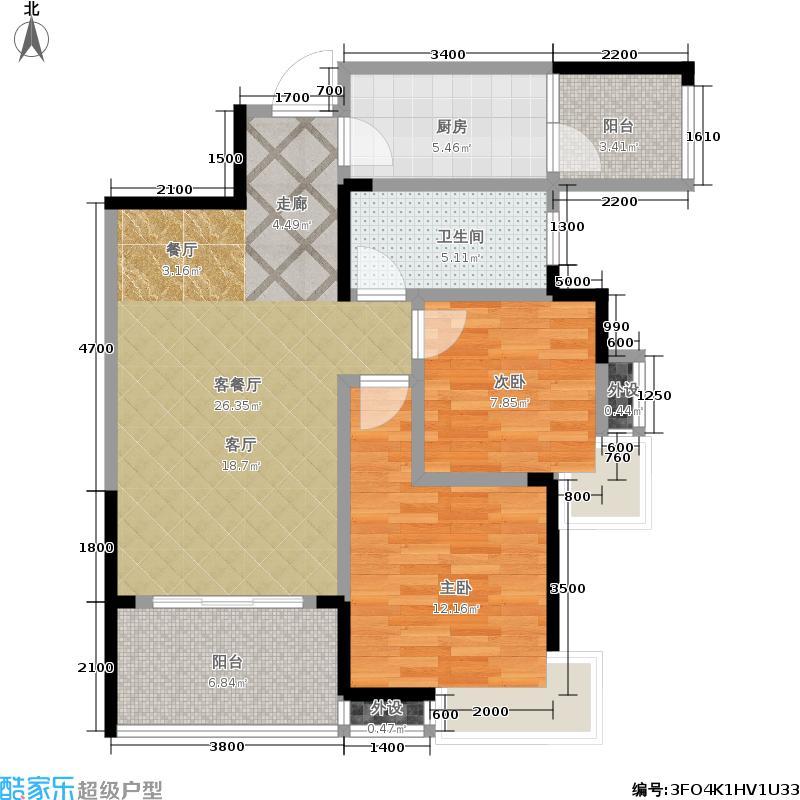 英祥春天广场84.77㎡2B户型2室2厅