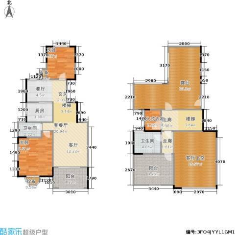 蓝湖西岸2室1厅2卫1厨117.00㎡户型图