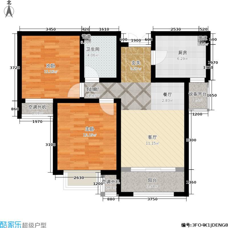 五矿榕园90.00㎡高层标准层B户型2室2厅