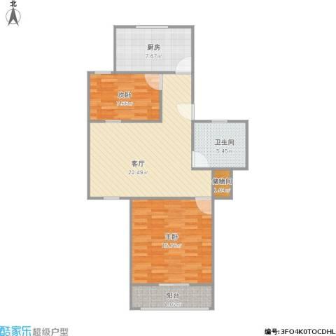 祁连三村2室1厅1卫1厨87.00㎡户型图