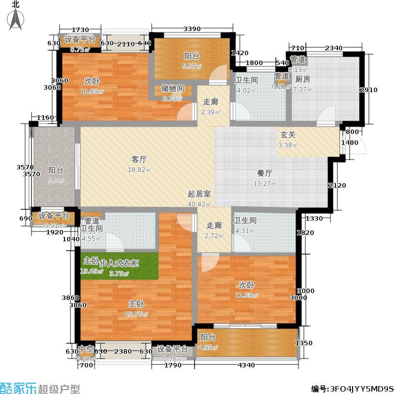 世茂君望墅142.00㎡一期3-4幢标准层A6户型