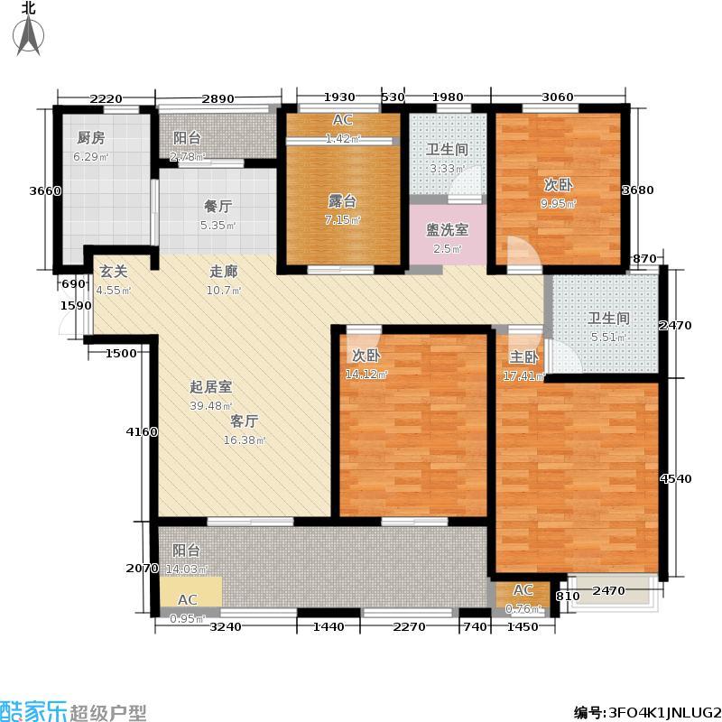 建屋海德公园139.00㎡二期15#标准层C2户型3室2厅