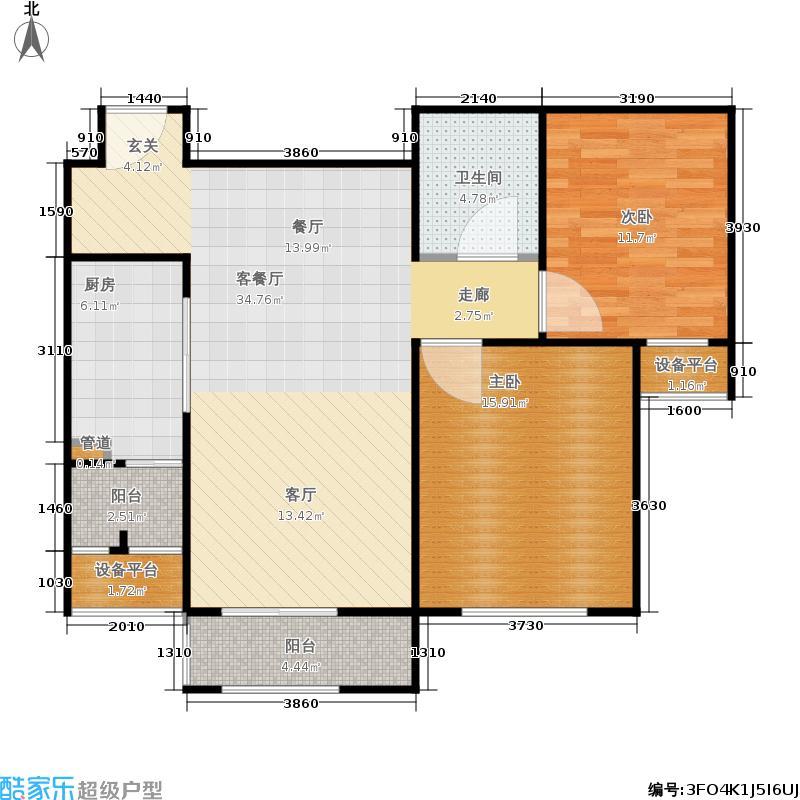 博雅公馆90.00㎡高层2号楼C户型2室2厅