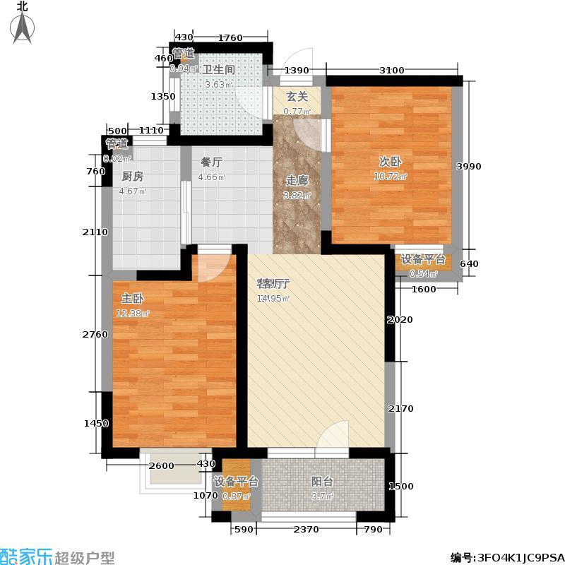 欧铂城90.80㎡高层15号楼标准层04户型2室2厅