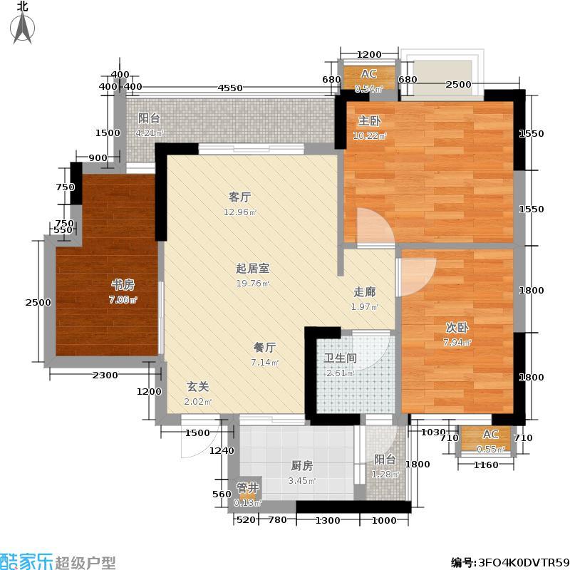 会所金澜苑68.52㎡一期1号楼标准层A1-4户型