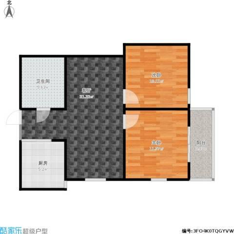芳草园2室1厅1卫1厨77.00㎡户型图