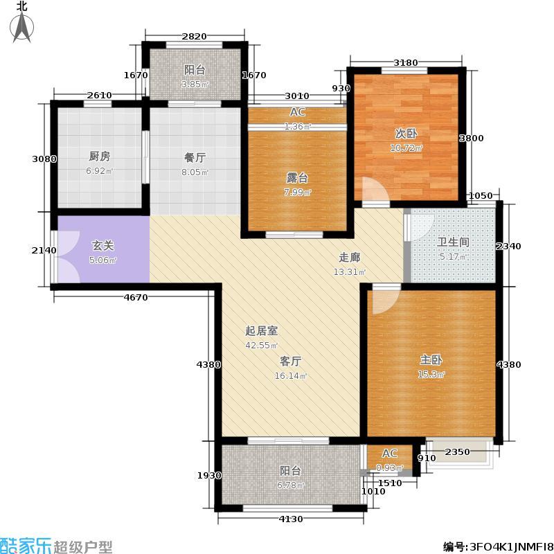建屋海德公园115.00㎡二期21#标准层B7户型2室2厅