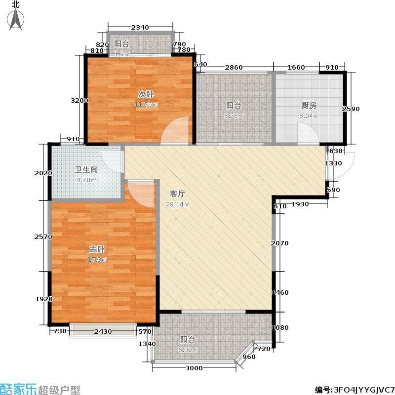 金域华府90.00㎡一期4、6号楼标准层B1户型