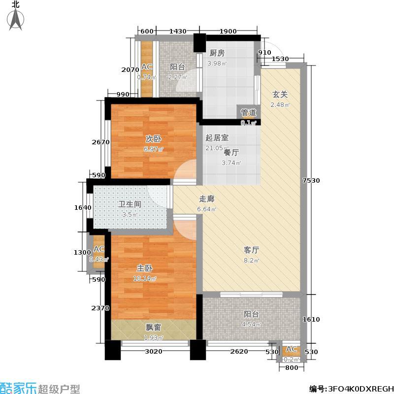 骑士郡锦程69.00㎡一期6号楼标准层A4户型
