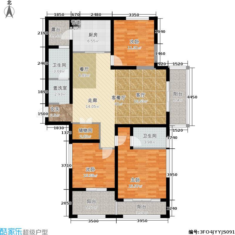 江宁1号130.94㎡一期4#楼标准层D3户型