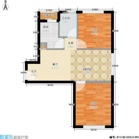 中信海港城2室0厅1卫1厨64.00㎡户型图