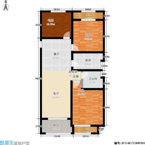 建滔裕景园3室0厅1卫1厨114.00㎡户型图