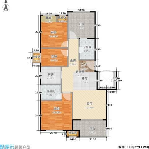 新城香溢紫郡3室0厅2卫1厨95.00㎡户型图