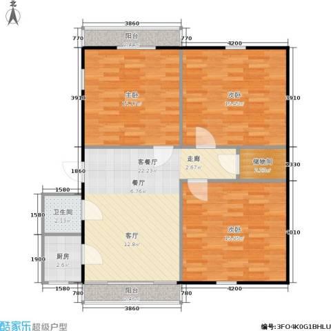 星洲花园3室1厅1卫1厨86.00㎡户型图