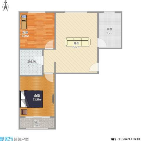 首创・悦都汇2室1厅1卫1厨77.00㎡户型图