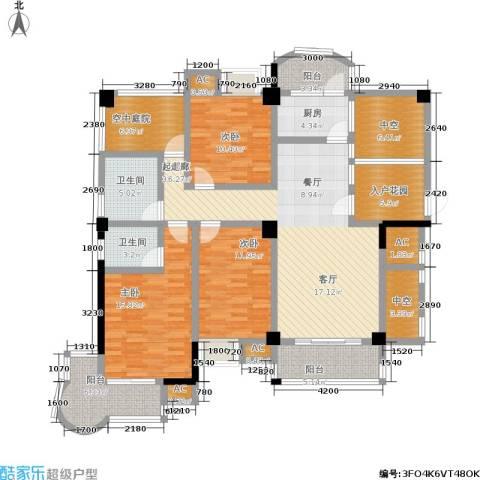 百盛国际名都3室0厅2卫1厨136.00㎡户型图