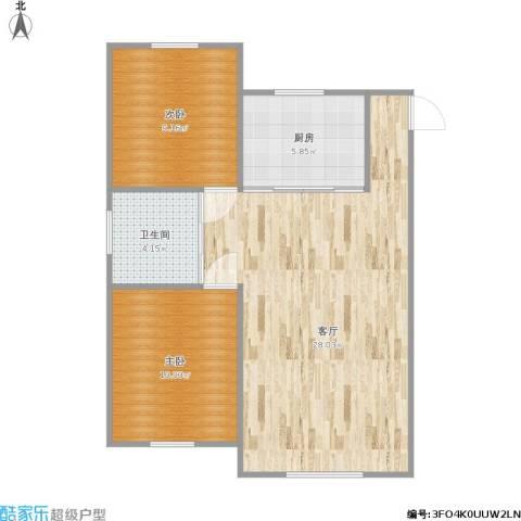 浅草绿阁八期水岸枫庭2室1厅1卫1厨77.00㎡户型图