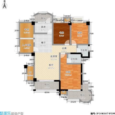 百盛国际名都3室0厅2卫1厨120.00㎡户型图