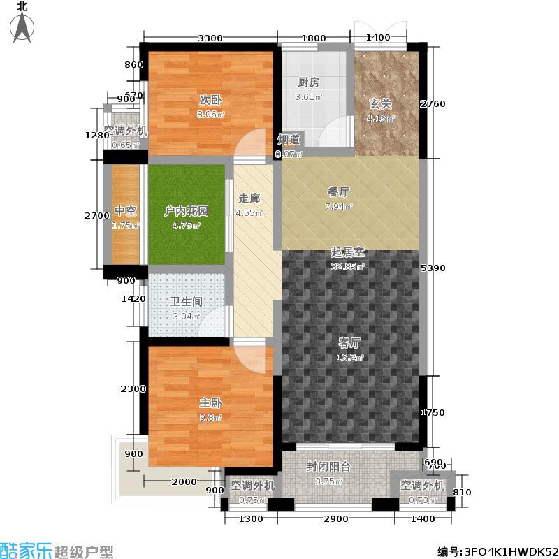 东宸林海92.82㎡A1-A3栋G户型2室2厅