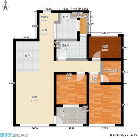 正荣润�项目3室1厅1卫1厨99.00㎡户型图