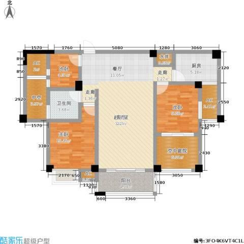 百盛国际名都3室0厅1卫1厨101.00㎡户型图