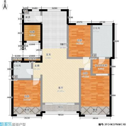 通州万达广场3室1厅2卫1厨162.00㎡户型图