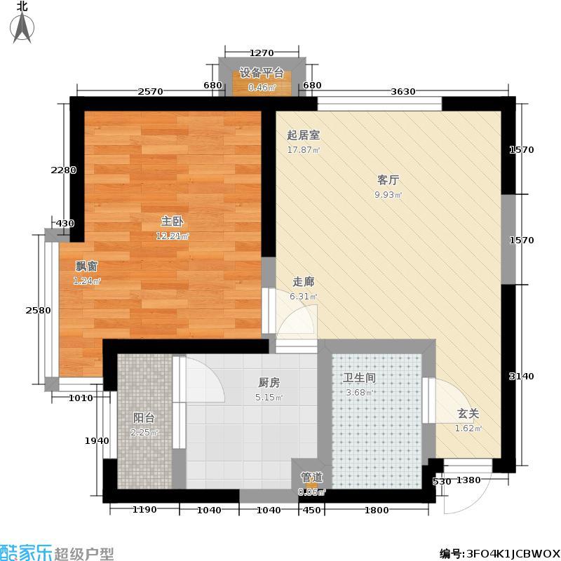 欧铂城64.89㎡高层7号楼标准层01户型1室1厅