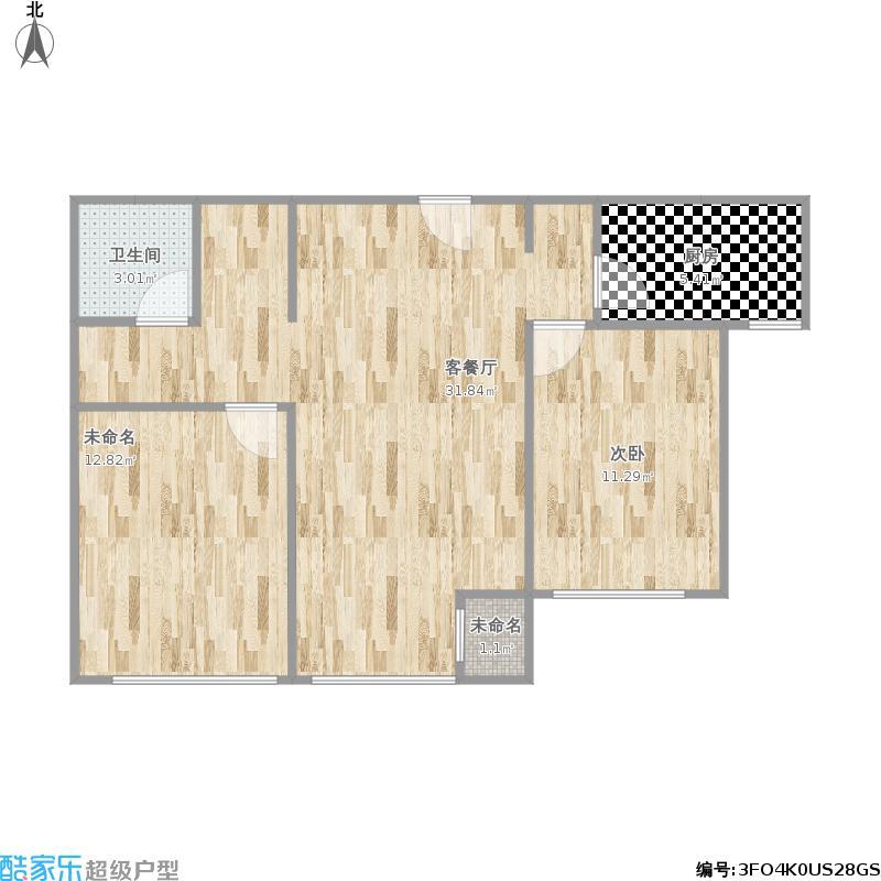 91㎡户型两居室