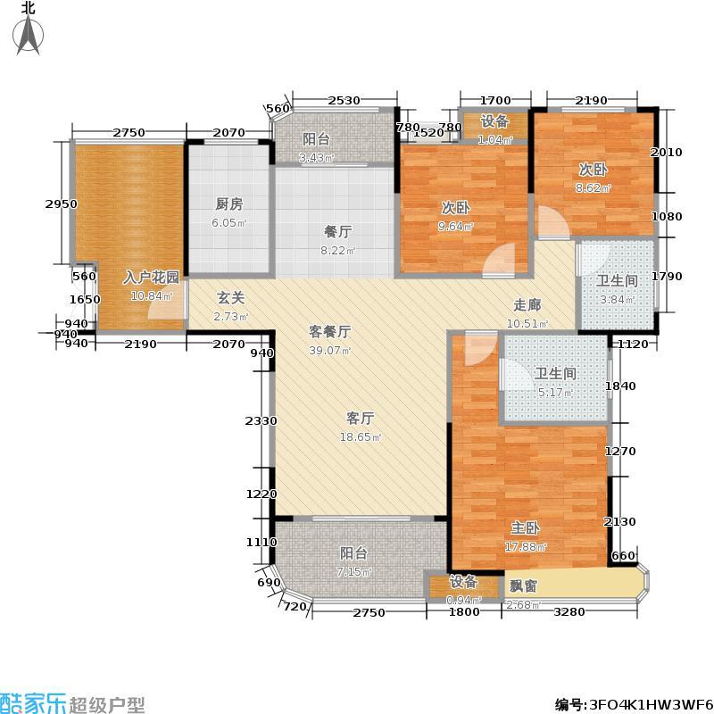 五矿万境水岸128.26㎡12号栋2号房户型3室2厅