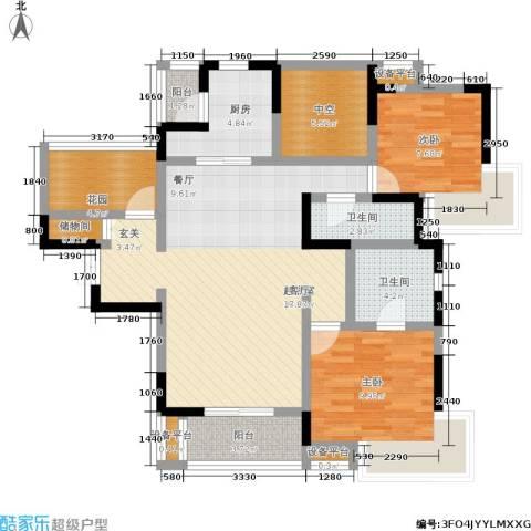 富力十号2室0厅2卫1厨94.00㎡户型图