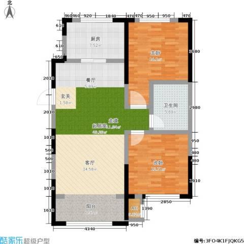 中海御湖熙谷2室0厅1卫1厨92.00㎡户型图