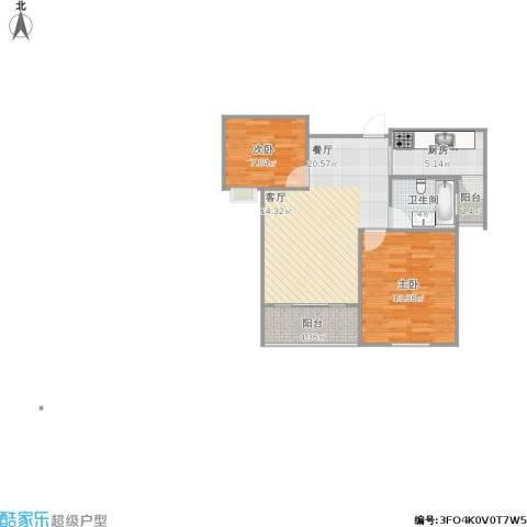 琴湖家园2室1厅1卫1厨76.00㎡户型图