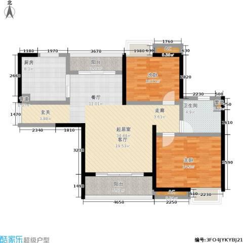 越秀星汇云锦2室0厅1卫1厨96.00㎡户型图