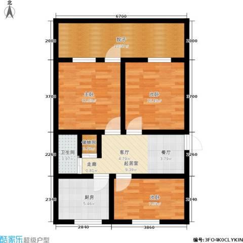 武林路小区3室0厅1卫1厨69.00㎡户型图