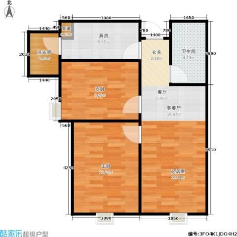 天津津南新城2室1厅1卫1厨78.00㎡户型图
