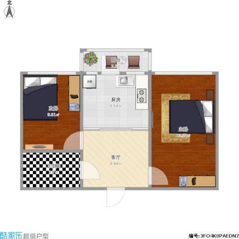 民众小区2室1厅1卫1厨56.00㎡户型图